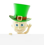 Baby in the cap of St. Patrick`s day green hat 3D illustration Royalty Free Stock Photo