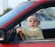 Baby in car Royalty Free Stock Image