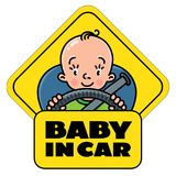Baby in car. Back window sticker or sign Stock Photos