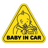 Baby in car. Back window sticker or sign. Baby in car. Funny small child, boy or girl, driver with steering wheel and the belts. The sticker on the back window Stock Illustration