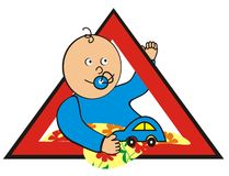 Baby in car - boy. Brand - child care in the car. Boy with toy car in the red triangle Royalty Free Stock Photo