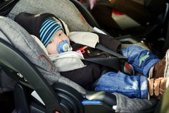 Baby in car Stock Photo