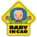 Baby in car seat. Back window sticker or sign Royalty Free Stock Photo