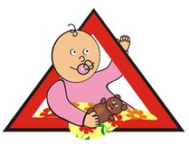 Baby in car - girl. Brand - child care in the car. Girl with teddy bear in a red triangle Stock Photos