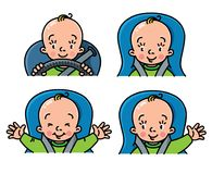 Baby in car icon set. Boy or girl in the seat Stock Photography