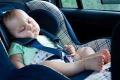 Baby in a car seat royalty free stock image