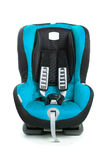 Baby car seat, blue color, isolated on white. Background royalty free stock photo
