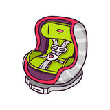 Baby car seat, bright vector children illustration  on w Royalty Free Stock Image