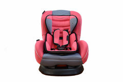 Baby car seat. Pink Carseat A child's car seat isolated on a white background Royalty Free Stock Image