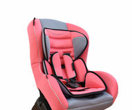Baby car seat. Pink Carseat A child's car seat isolated on a white background Stock Images