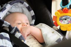 Baby in car seat. Three month old baby boy in car seat Stock Photos