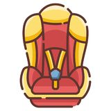 Baby car seat LineColor illustration royalty free illustration