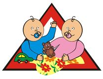 Baby in car - siblings. Brand - child care in the car. Siblings with the teddy bear and toy car in the red triangle Stock Images