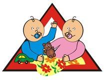 Baby in car - siblings Stock Images