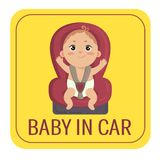 Baby in car sign. Boy fastened in car chair. Baby in car sign. Babyboy in car chair on yellow automobile sticker. Cute little fastened boy. Caution icon for stock illustration