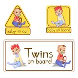 Baby in car sign stickers illustration or twins on board caution warning labels isolated set. Baby in car sign stickers illustration. Twins girl and boy baby on vector illustration