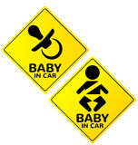 Baby in car sign  Royalty Free Stock Photography