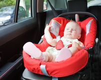 Baby in car Royalty Free Stock Photos