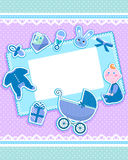Baby card. A baby and a set of babies' things on a cute greeting card Royalty Free Stock Photography