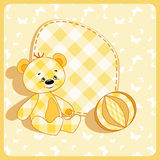 Baby card. Bear and ball. Stock Images