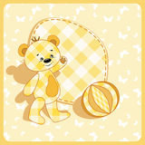 Baby card. Bear and ball. Royalty Free Stock Photography