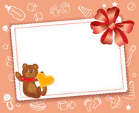 Baby card with bow Royalty Free Stock Photo
