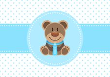 Baby Card Boy Teddy And Bottle Dots Background Blue stock illustration