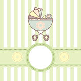 Baby card with cradle Stock Photos