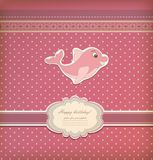 Baby card with dolphin toy vector Royalty Free Stock Images
