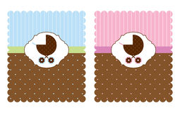 Baby Card For Boy And Girl Stock Photo