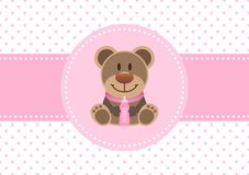 Baby Card Girl Teddy And Bottle Dots Background Pink royalty free illustration