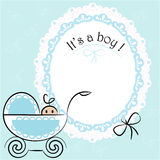 Baby card - Its a boy theme. With a baby boy in pram royalty free illustration