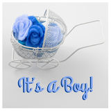 Baby card - Its a boy theme. Pram full of flowers on white background. Newborn greeting card. Stock Photos