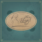 Baby card - Its a boy theme Royalty Free Stock Images