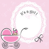 Baby card - Its a girl theme. With a baby girl in pram Royalty Free Stock Photos