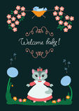 Baby card with kitty Royalty Free Stock Image