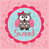 Baby card with owlet Stock Photos