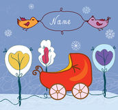 Baby card with pram for winter Stock Photos