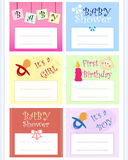 Baby card set. A set of various baby cards isolated over white background Stock Images