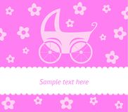 Baby card with stroller Royalty Free Stock Photo