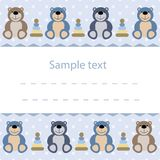 Baby card with teddy bears. Vector baby card with teddy bears Royalty Free Stock Image