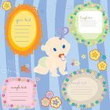 Baby cards. Baby announcement text cards, design elements royalty free illustration