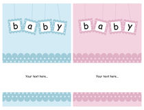 Baby cards. Set of two baby cards isolated on white background with space for your text.EPS file available stock illustration