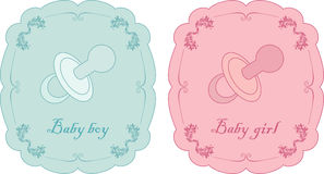 Baby cards. Vector illustration of baby cards for boy and girl stock illustration