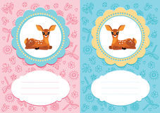 Baby cards with baby deer. Baby-girl and baby-boy cards with cute baby deer. Some blank space for your text included vector illustration