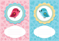 Baby cards with bird. Baby-girl and baby-boy cards with cute bird. Some blank space for your text included royalty free illustration