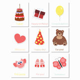 Baby cards birthday for girls. Birthday, greeting and invitation card stock illustration