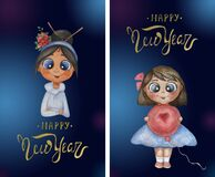 Vertical baby cards with Christmas greetings. Cute girls in with flowers and a balloon on a blue decorative background
