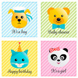 Baby cards collection. With cute animals vector illustration