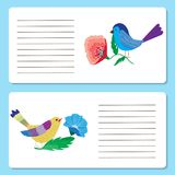 Baby cards with cute colorful birds and animal flowers, greeting. Cards or Invitation cards, vector illustration stock illustration